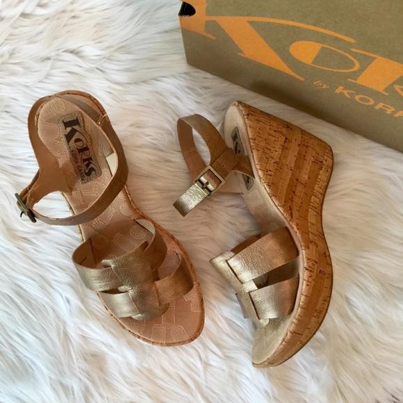 b5d0599908f Kork-Ease Shoes - Korks Gold Leather Wedge Sandals